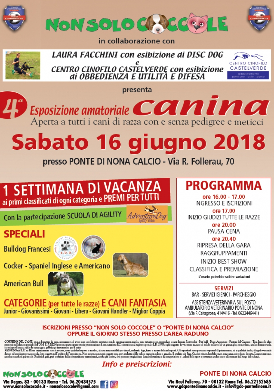 Sabato 16 giugno al Ponte di Nona la 4a esposizione canina amatoriale